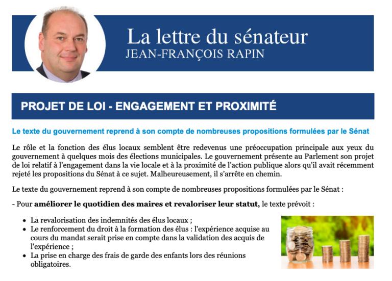 Lettre Projet de loi «Engagement et Proximité»